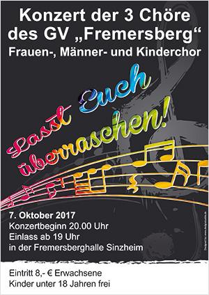 Konzert der 3 Chöre des GV Fremersberg 7.10.2017